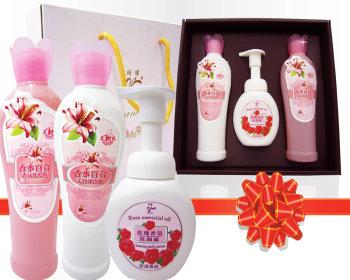 百合香氛沐浴洗髮玫瑰慕絲禮盒