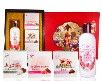 玫瑰沐浴乳300ml+3香皂禮盒--隨機出貨